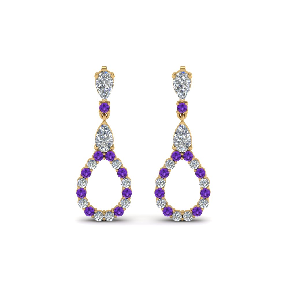 Pear Diamond Drop Earring For Women With Violac Topaz In 14K Yellow Gold