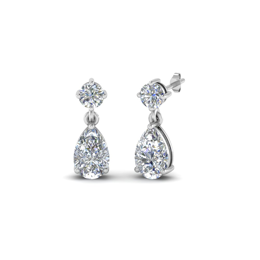 pear diamond drop earring gift in FDEAR8386 NL WG