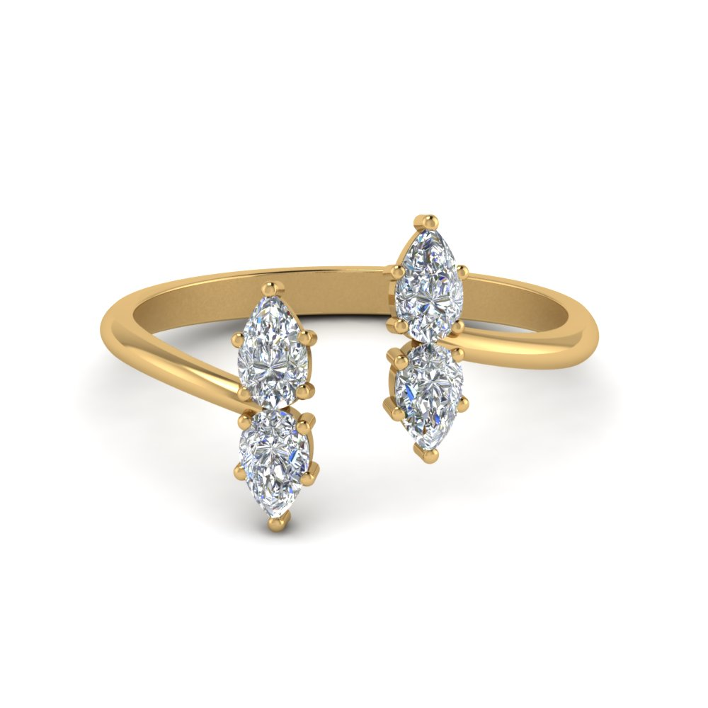 Pear Diamond Open Cuff Ring