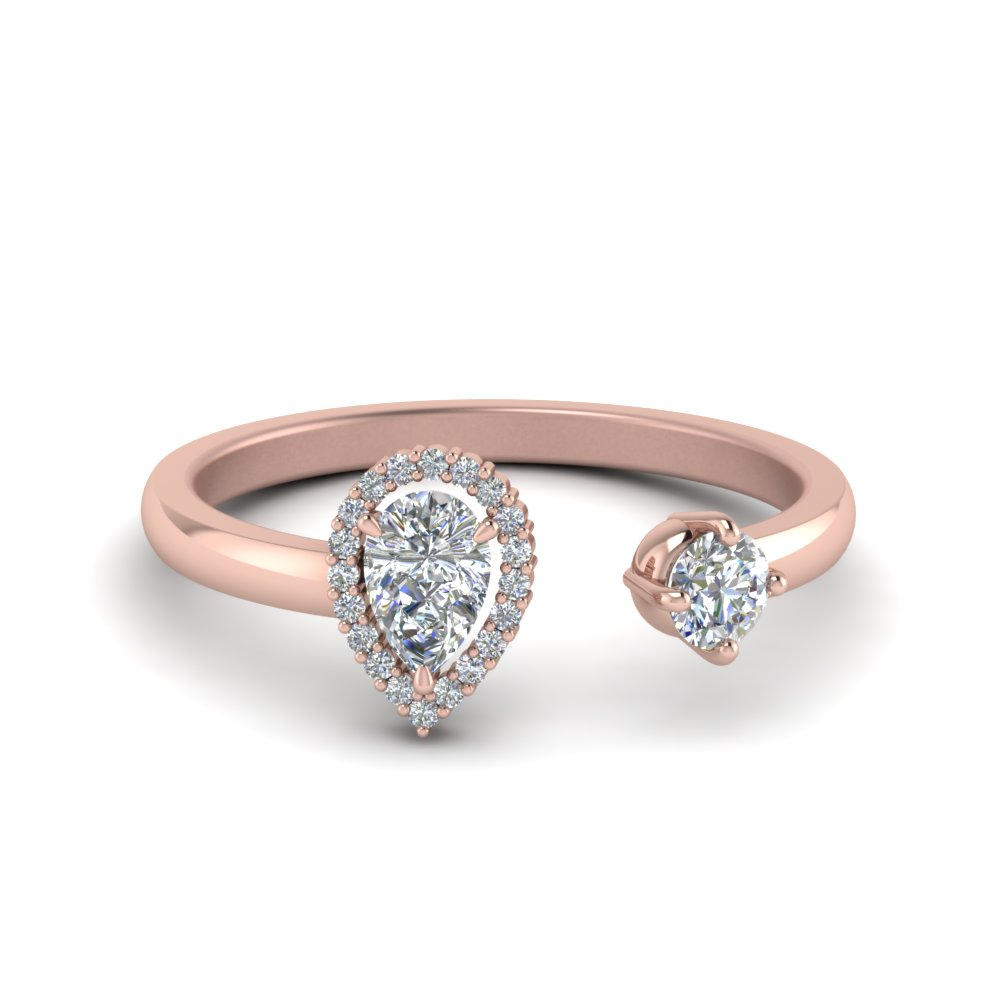 Pear Diamond Open Engagement Ring In 14K Rose Gold