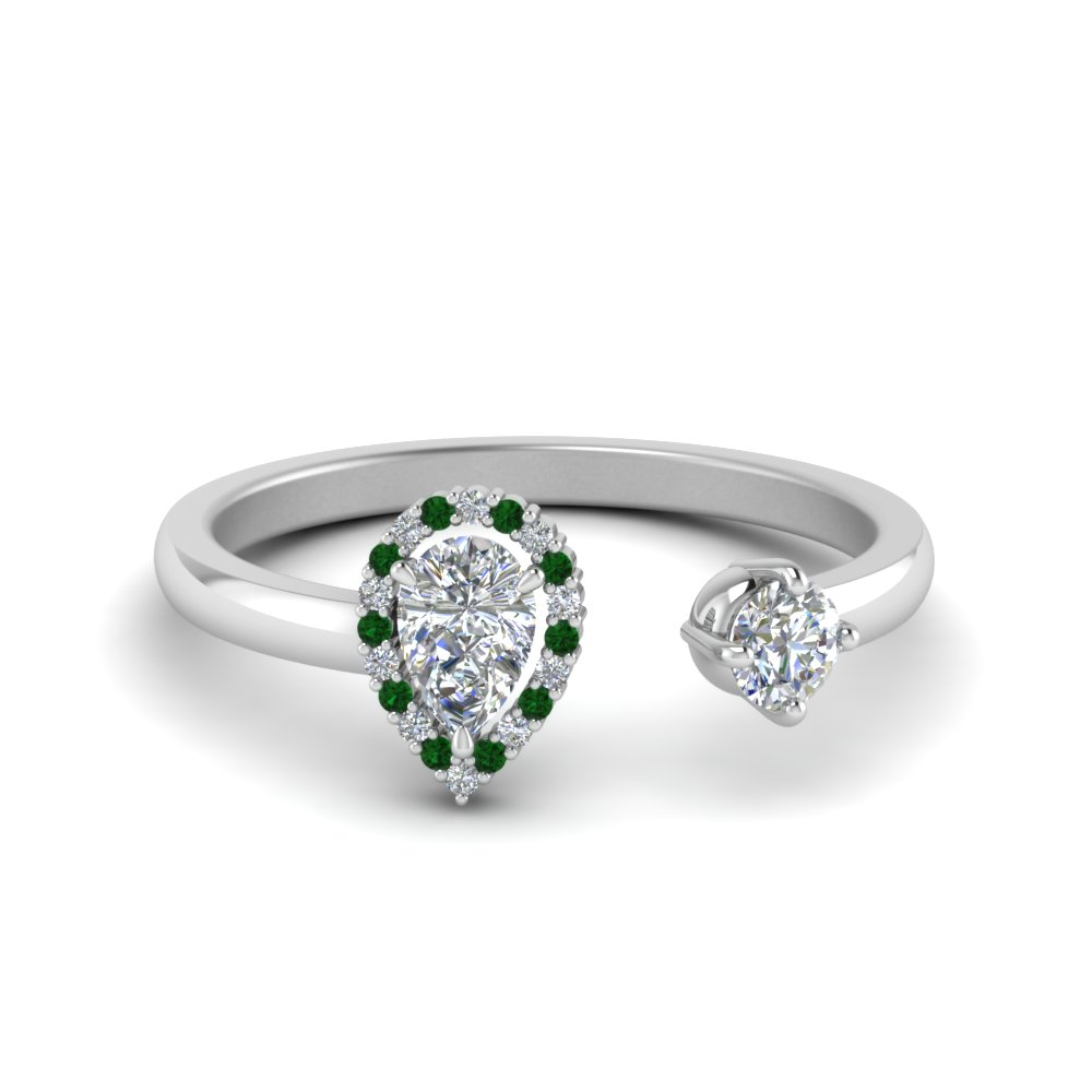 Pear Diamond Open Engagement Ring With Emerald In 18K White Gold