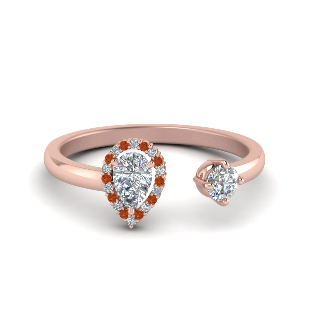 Pear Diamond Open Engagement Ring With Orange Sapphire In 14K Rose Gold