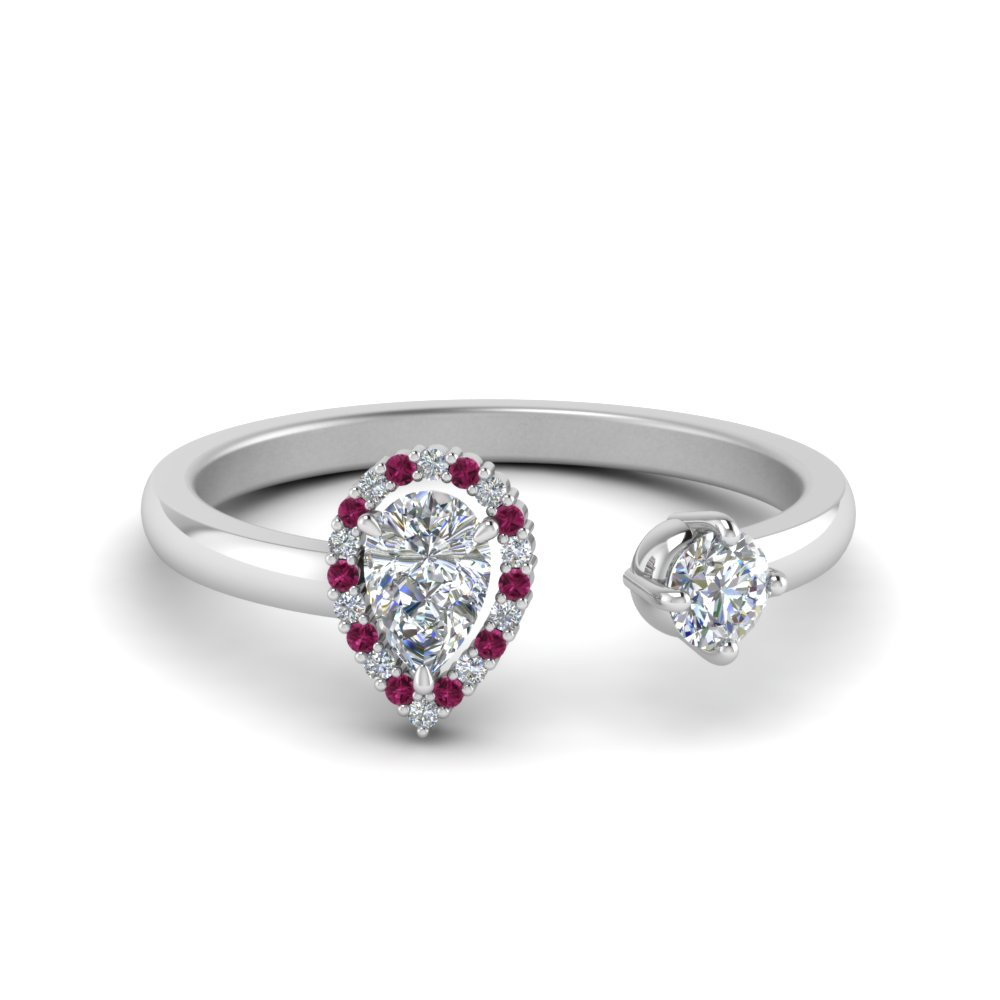 Pear Diamond Open Engagement Ring With Pink Sapphire In 14K White Gold