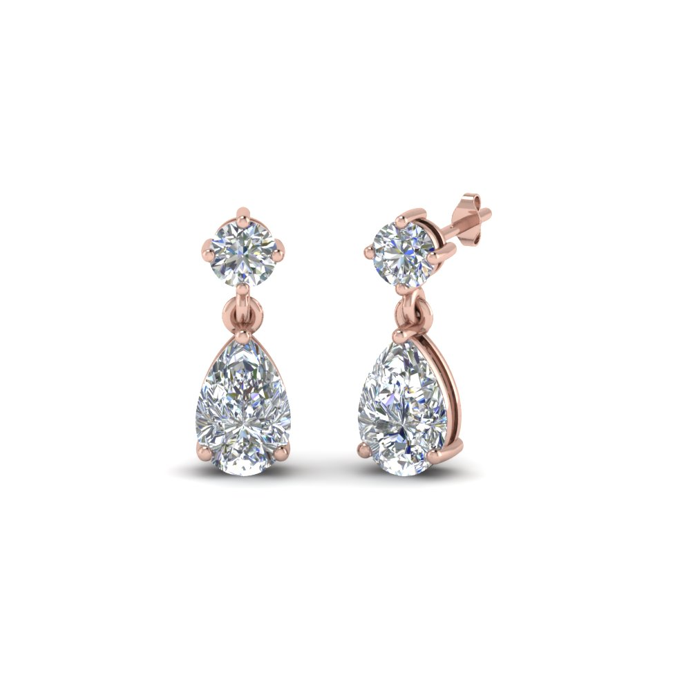 Pear Drop Diamond Earring In 14K Rose Gold