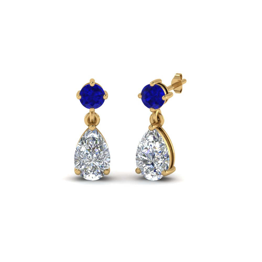 d0a9ee0d1 pear drop diamond earring with blue sapphire in 14K yellow gold  FDEAR8386GSABL NL YG