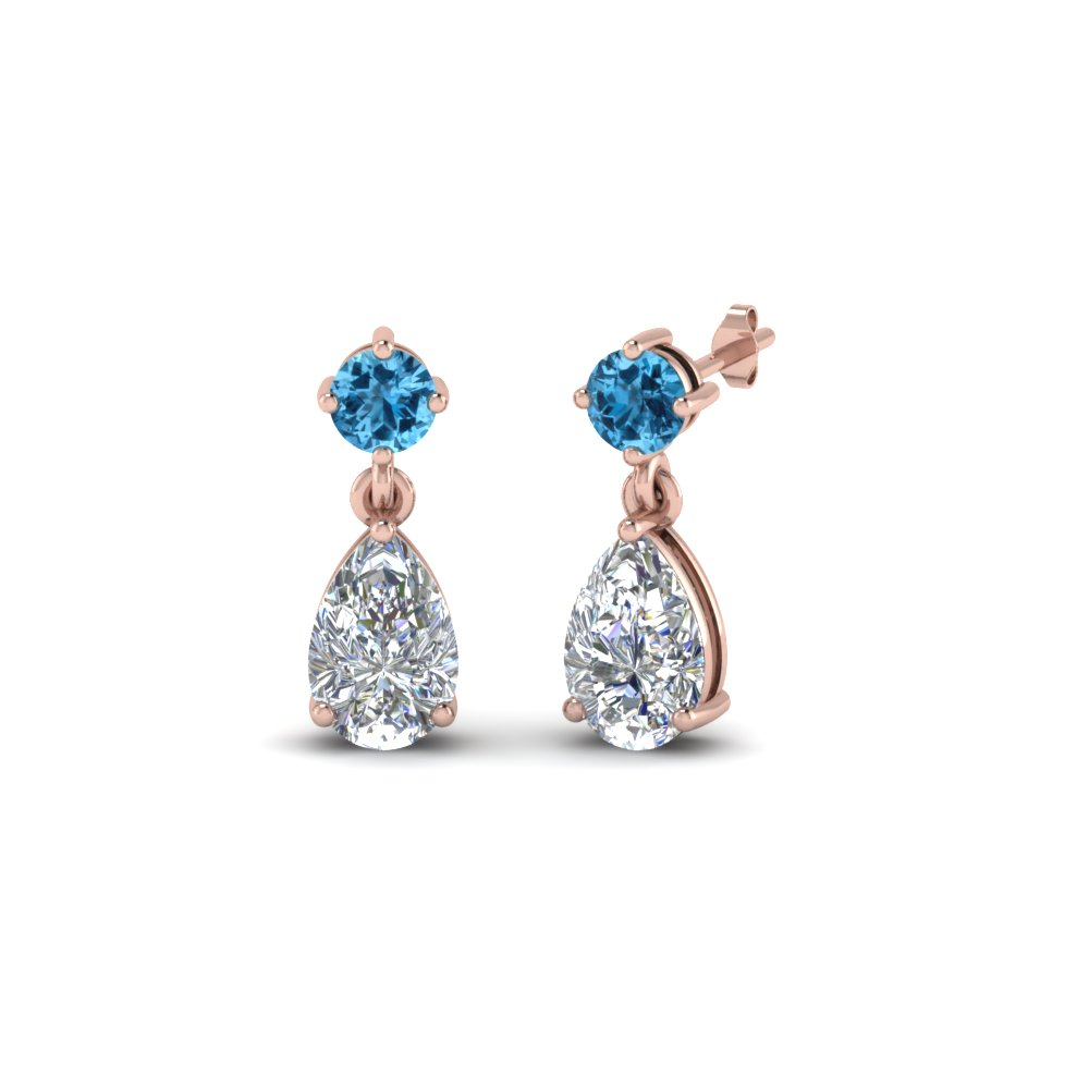 pear drop diamond earring with blue topaz in 14K rose gold FDEAR8386GICBLTO NL RG