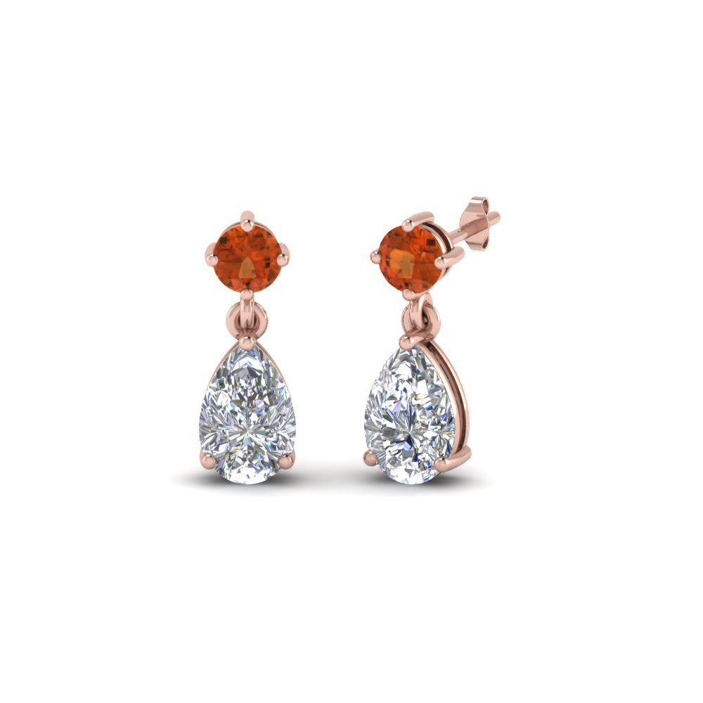 pear drop diamond earring with orange sapphire in 14K rose gold FDEAR8386GSAOR NL RG