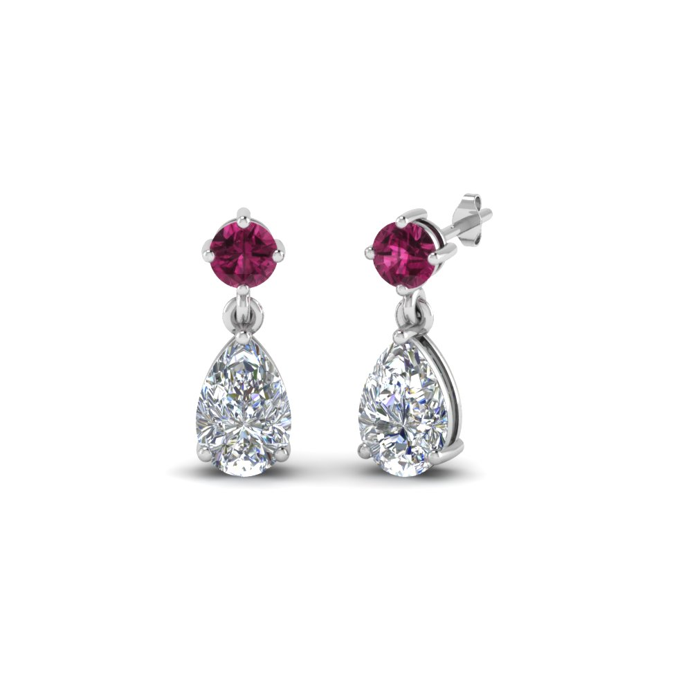 8701e539f pear drop diamond earring with pink sapphire in 14K white gold  FDEAR8386GSADRPI NL WG