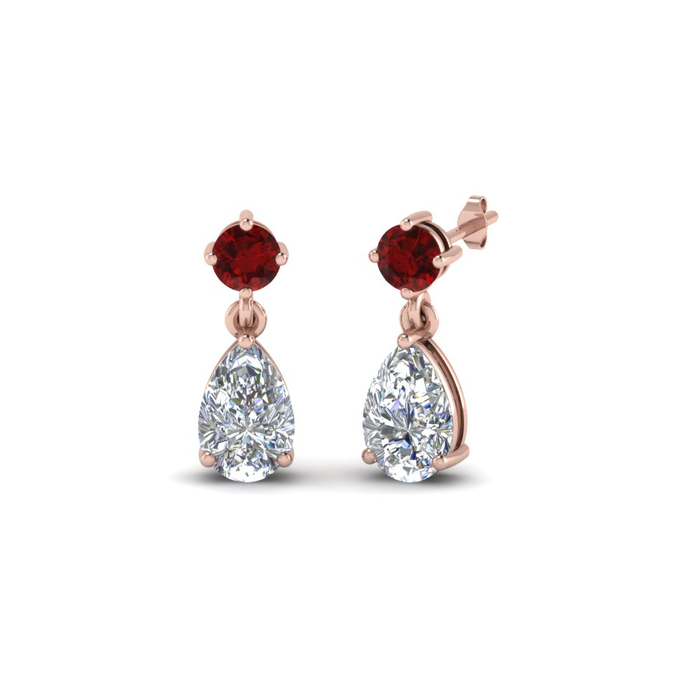 Pear Drop Diamond Earring With Ruby In Fdear8386grudr Nl Rg