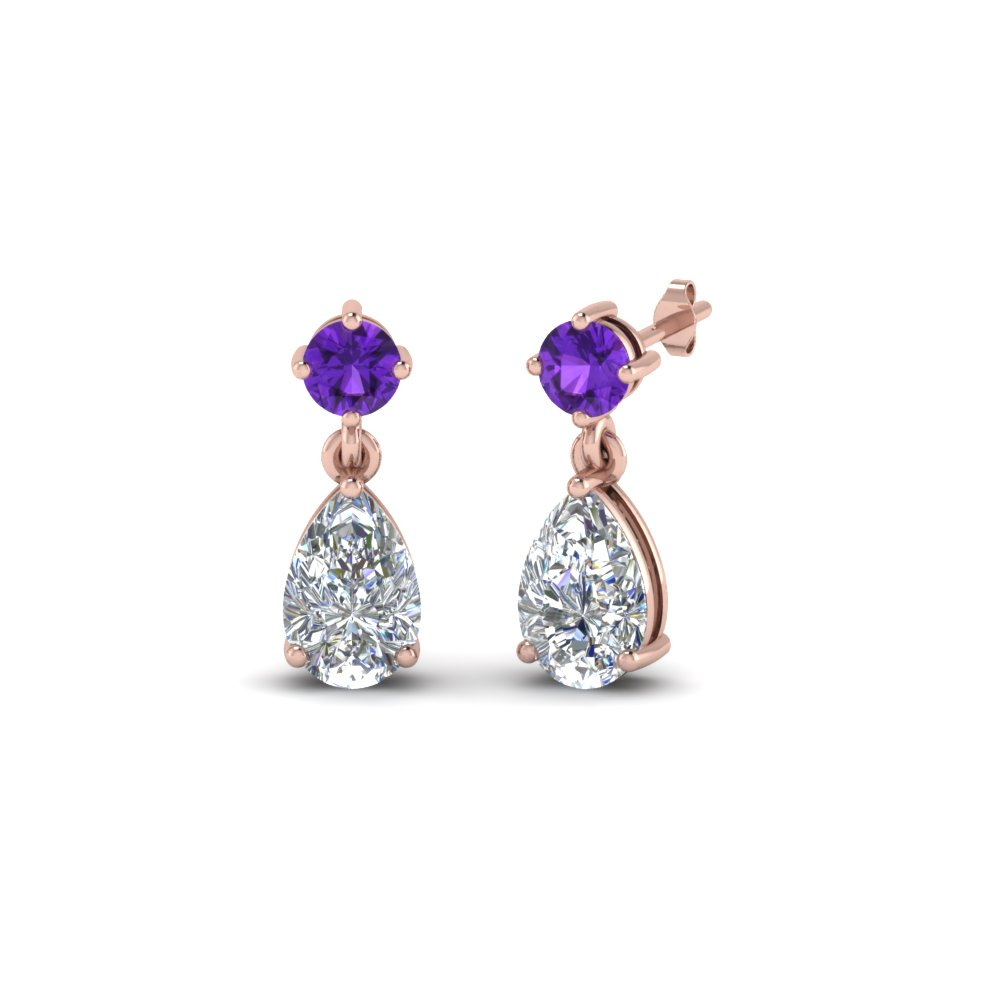 pear drop diamond earring with purple topaz in 18K rose gold FDEAR8386GVITO NL RG