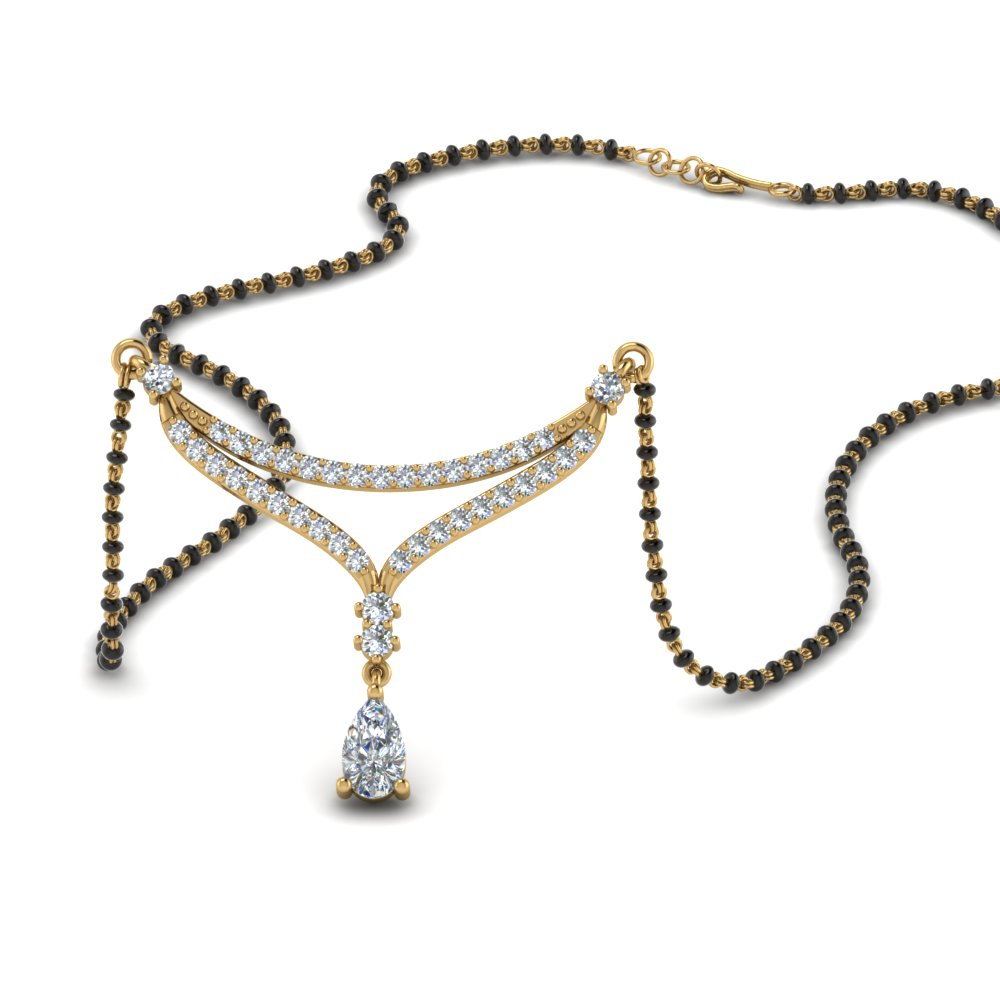 Pear Drop Diamond Mangalsutra Necklace