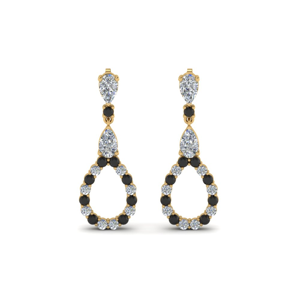 Pear Drop Earring For Women With Black Diamond In 18K Yellow Gold