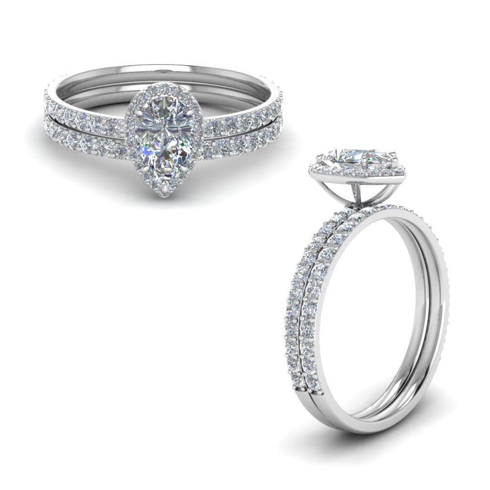 Pear Halo Diamond Wedding Set