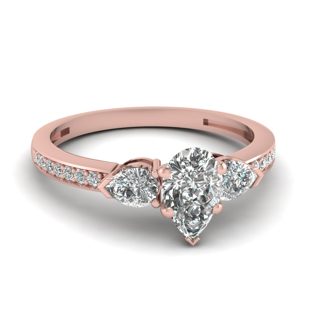 pear shaped 3 stone pave diamond engagement ring in 18K rose gold FDENS3111PER NL RG
