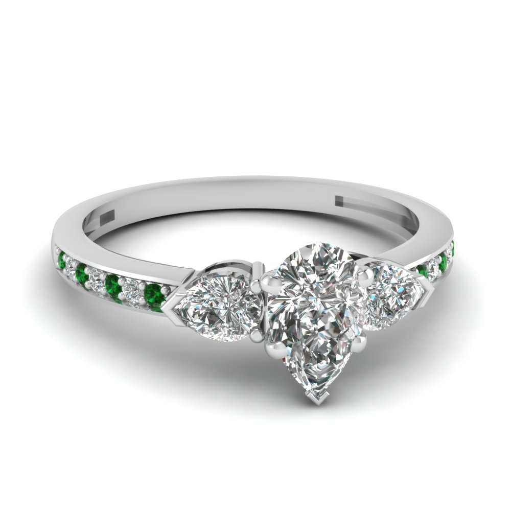 pear shaped 3 stone pave diamond engagement ring with emerald in 14K white gold FDENS3111PERGEMGR NL WG