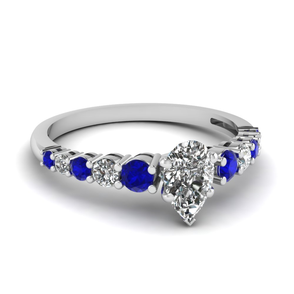 graduated pear diamond engagement ring with sapphire in FDENS3056PERGSABL NL WG