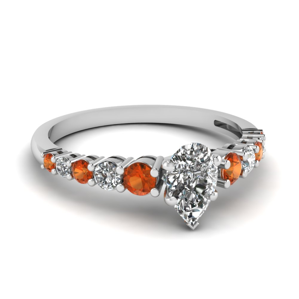 graduated pear diamond ring with orange sapphire in FDENS3056PERGSAOR NL WG