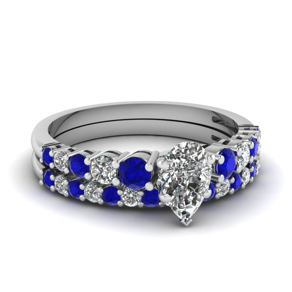 Graduated Sapphire Wedding Set
