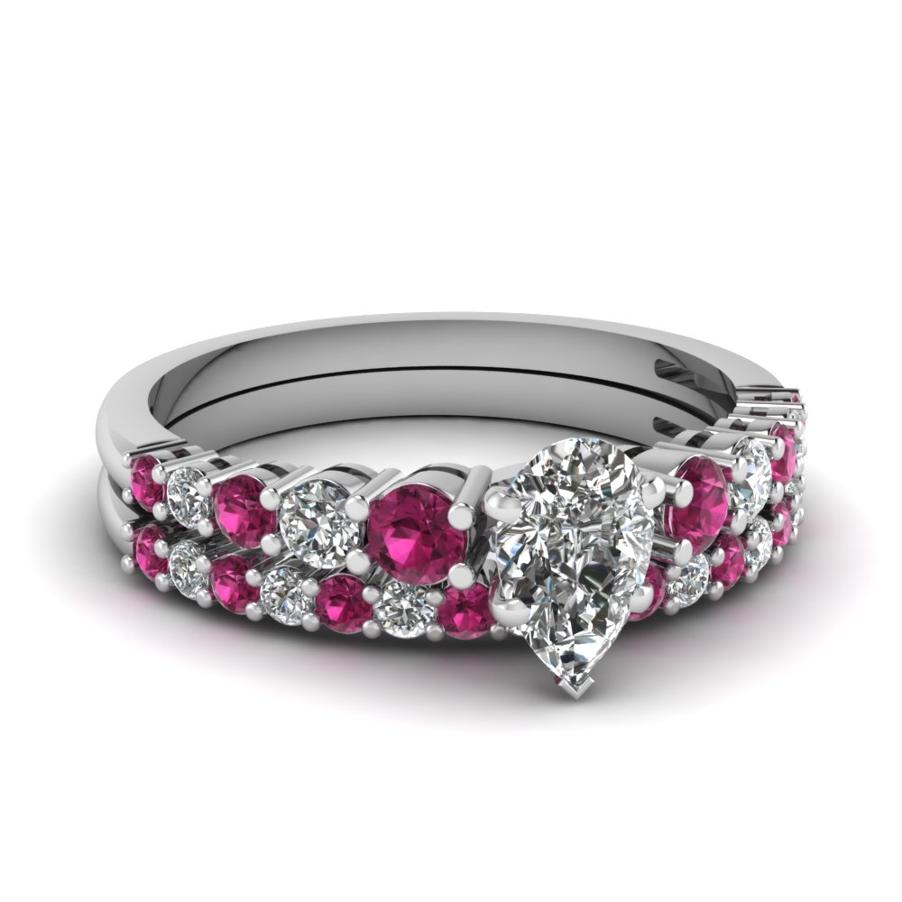 graduated pear diamond wedding ring set with pink sapphire in FDENS3056PEGSADRPI NL WG