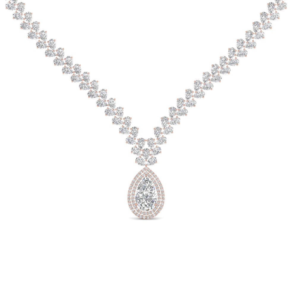 Drop Leaf Diamond Necklace
