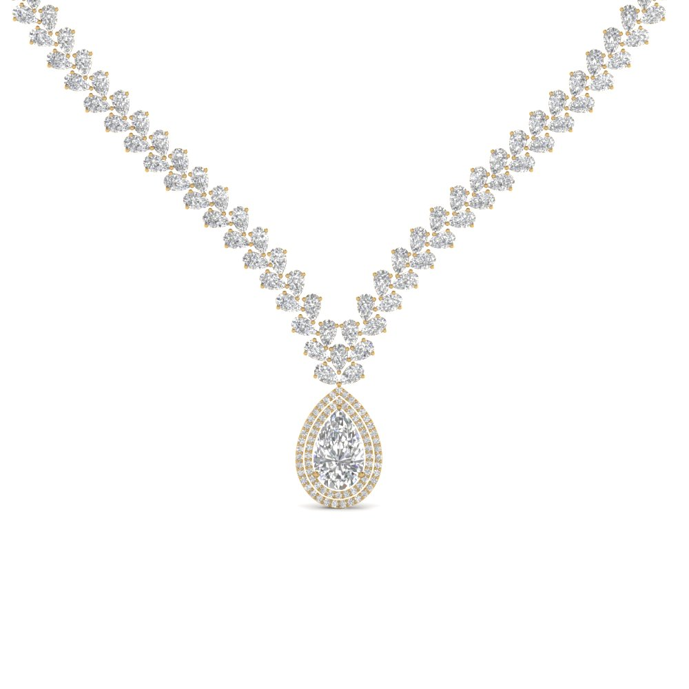 Pear Drop Leaf Diamond Necklace