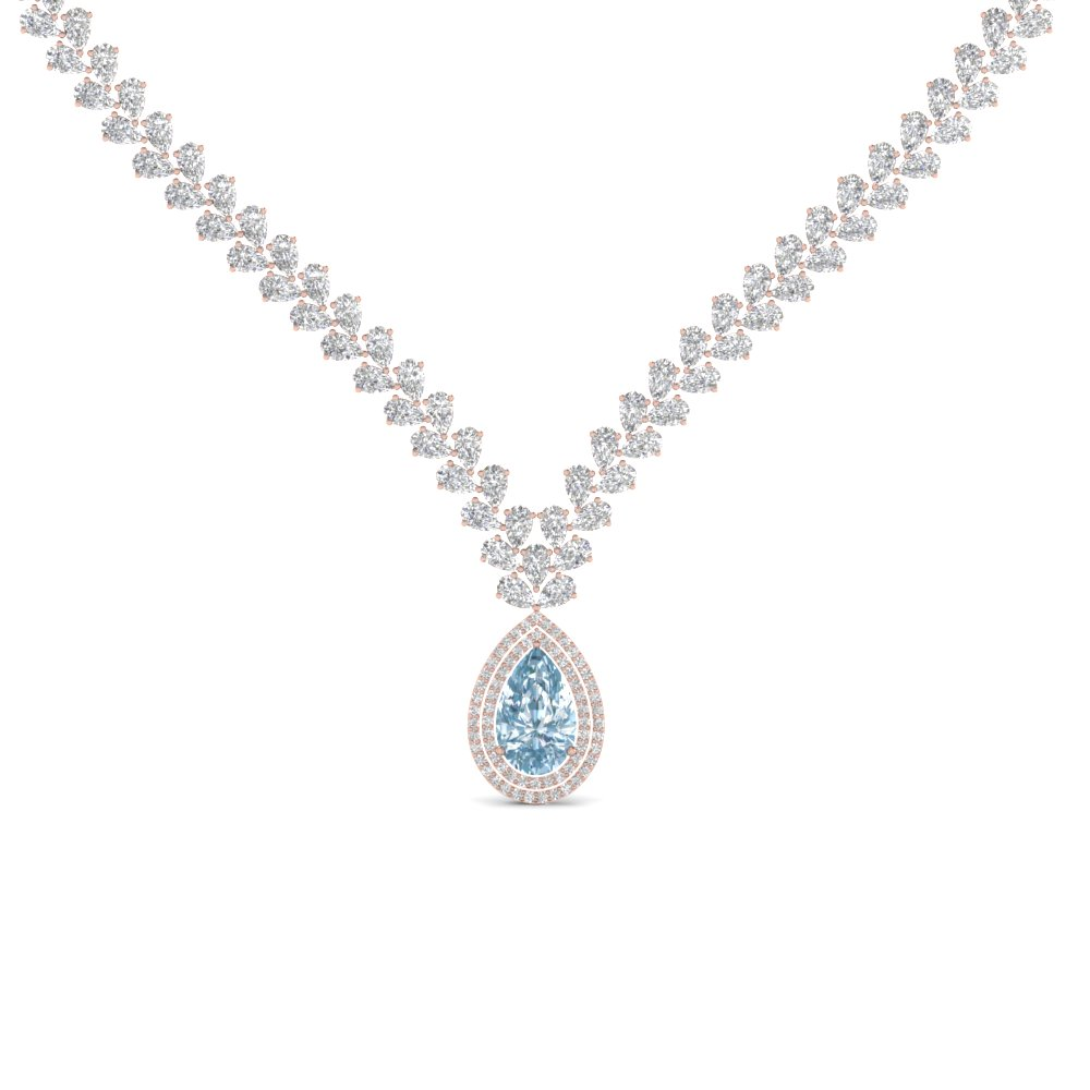 pear shape drop leaf diamond necklace for women with aquamarine in 14K rose gold FDNK8196GAQ NL RG