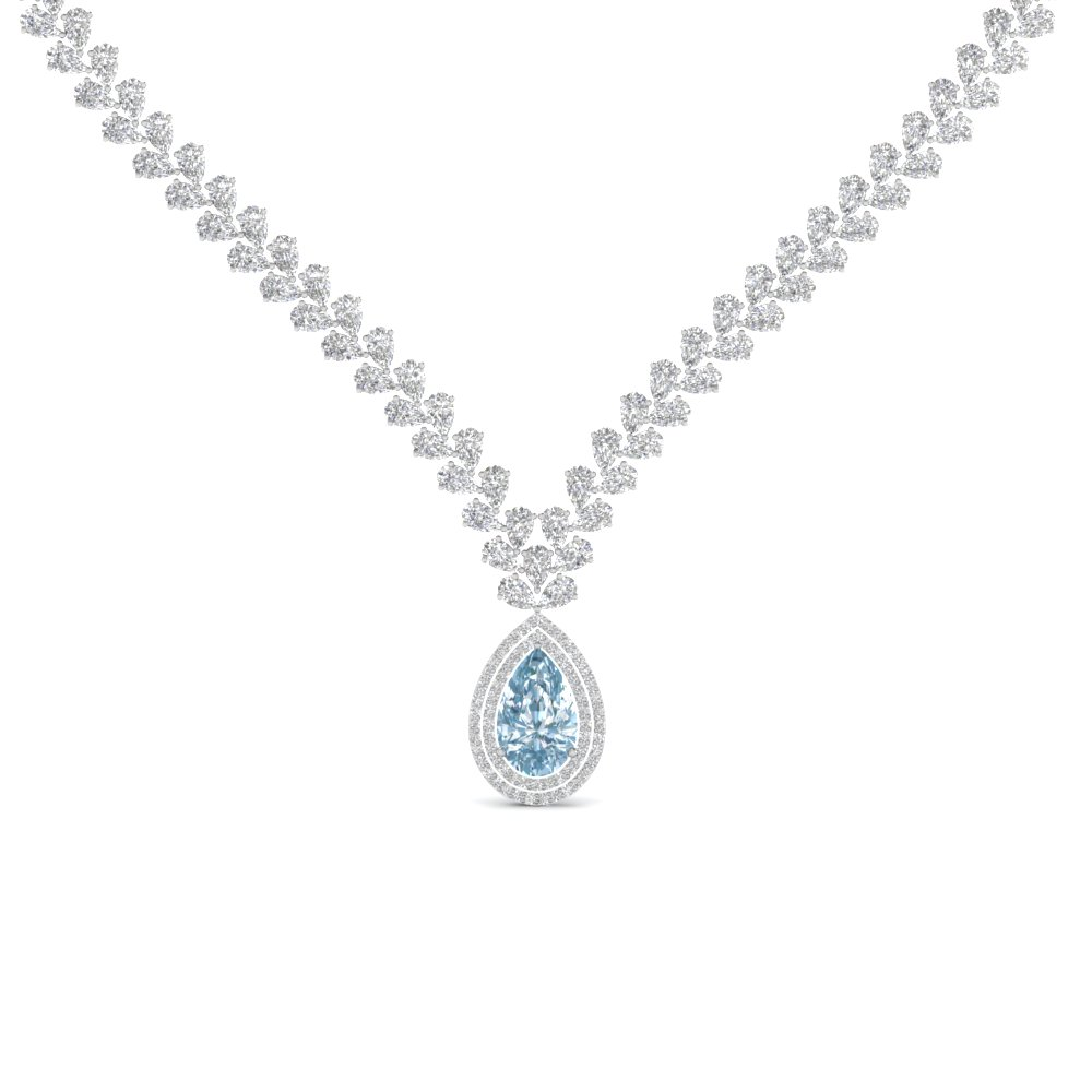 Aquamarine Pear Drop Diamond Necklace