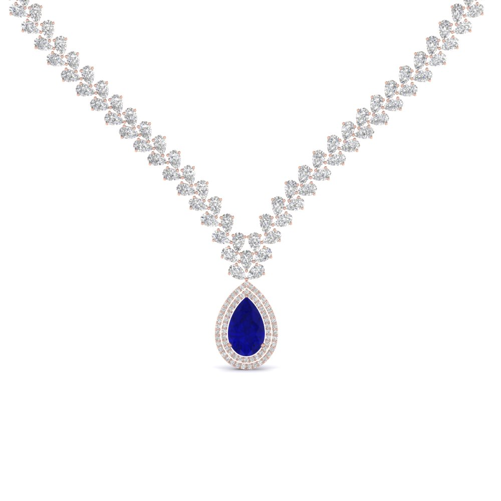 Pear Shape Drop Leaf Diamond Necklace For Women With