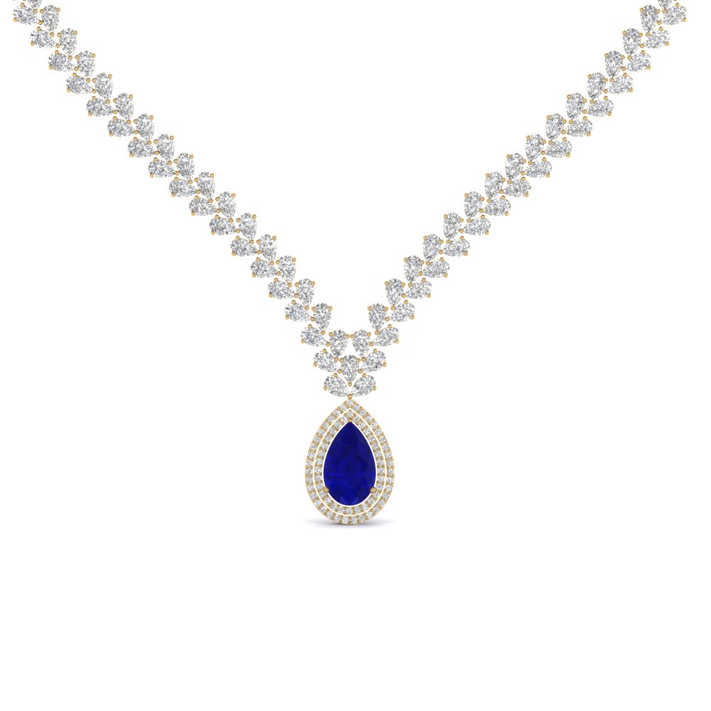 Unique Diamond Necklace With Sapphire
