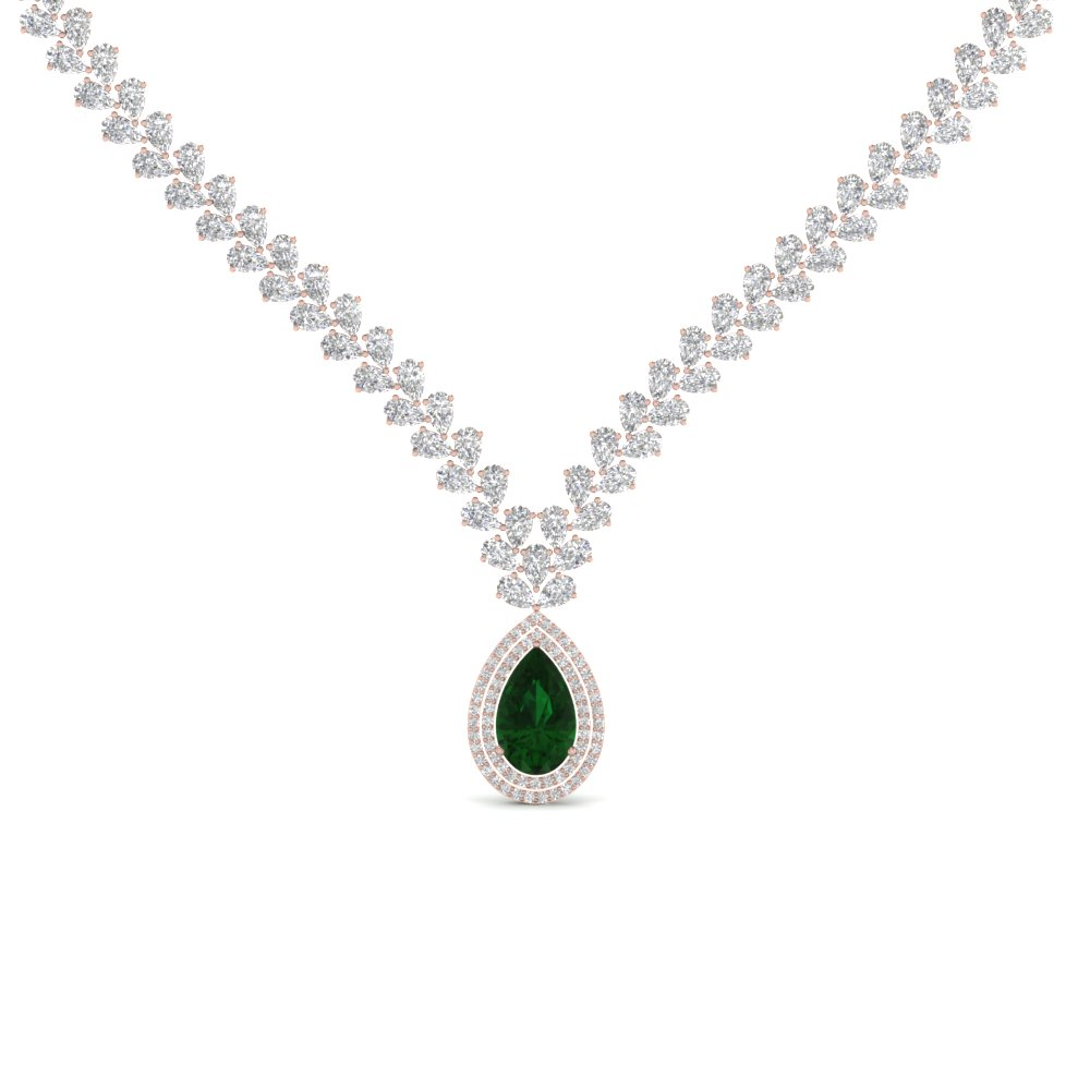 Pear Drop Leaf Emerald Necklace