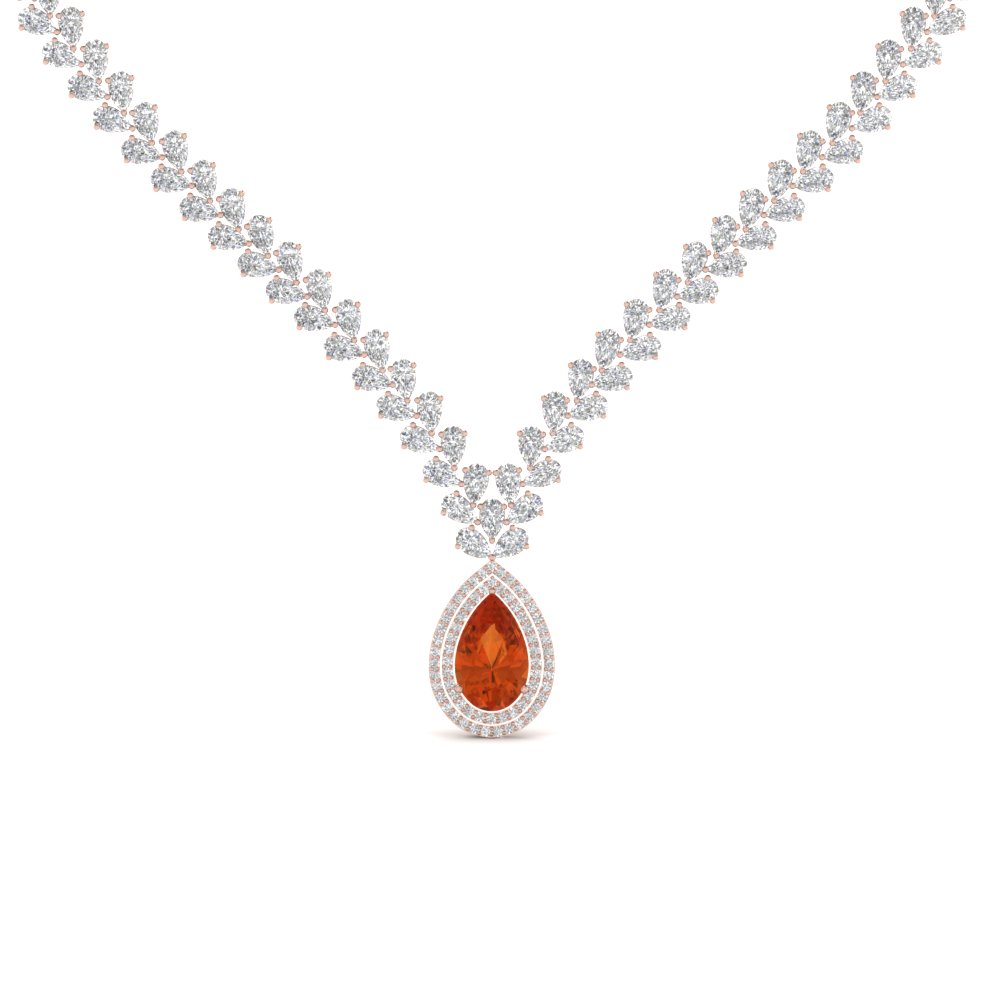 Launching orange sapphire pendants fascinating diamonds pear shape drop leaf diamond necklace for women with orange sapphire in 14k rose gold fdnk8196gsaor aloadofball Gallery