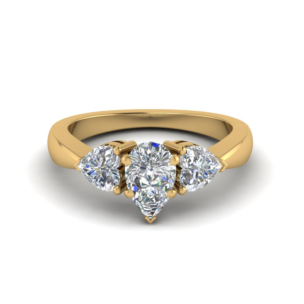 3 diamond pear shaped engagement ring in FD8029PERANGLE1 NL YG