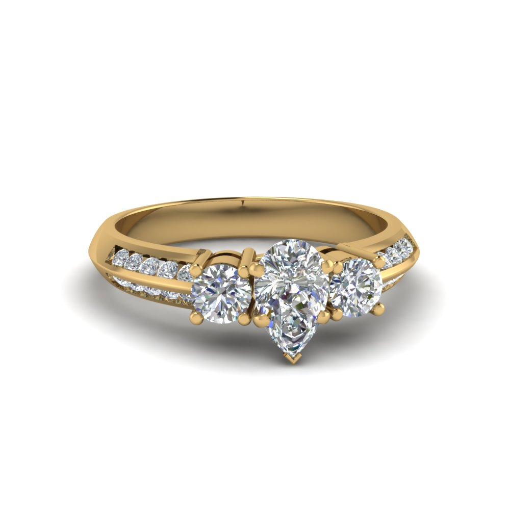 pear shaped 3 stone channel accent diamond engagement ring in FD8313PER NL YG