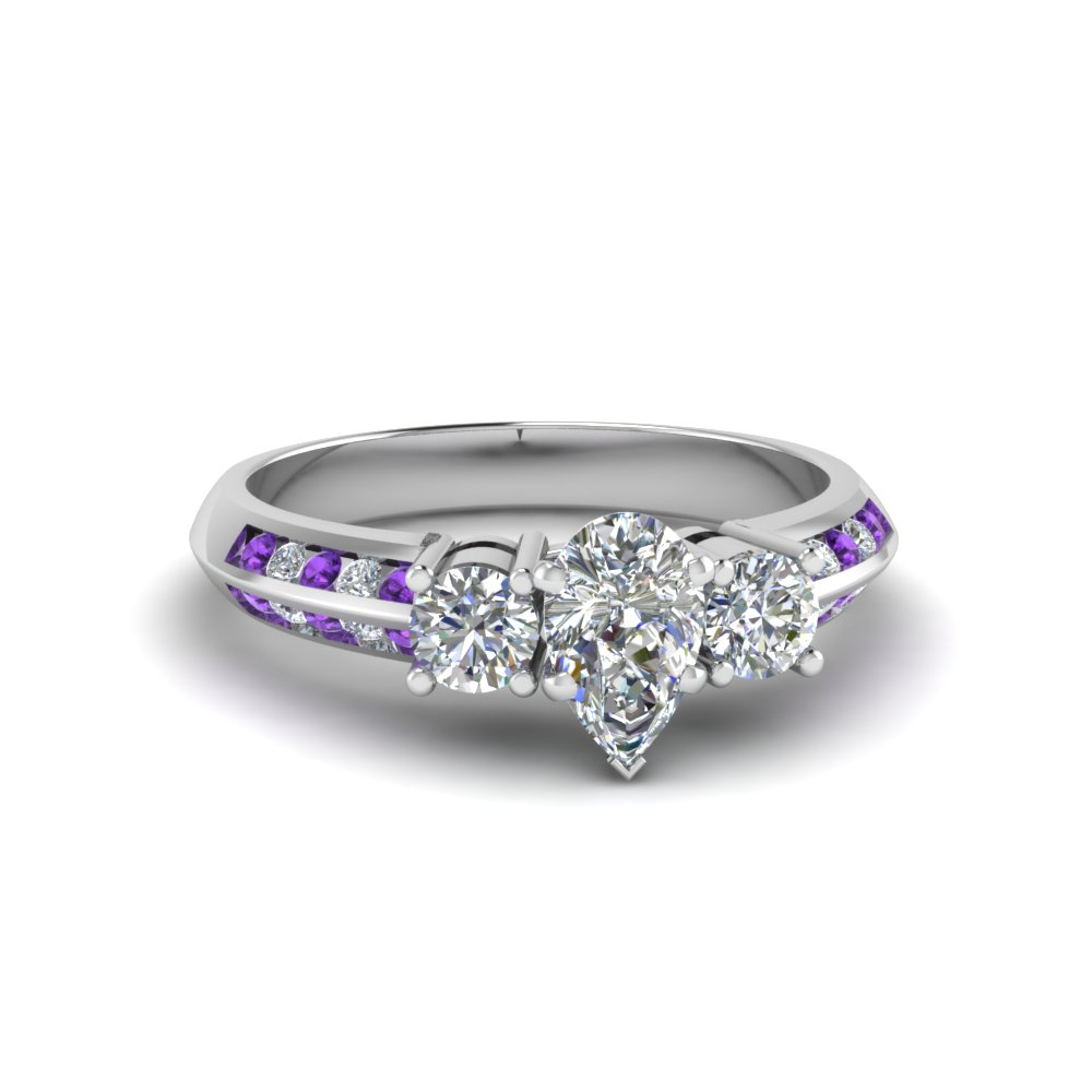 pear shaped 3 stone channel accent moissanite engagement ring with purple topaz in FD8313PERGVITO NL WG