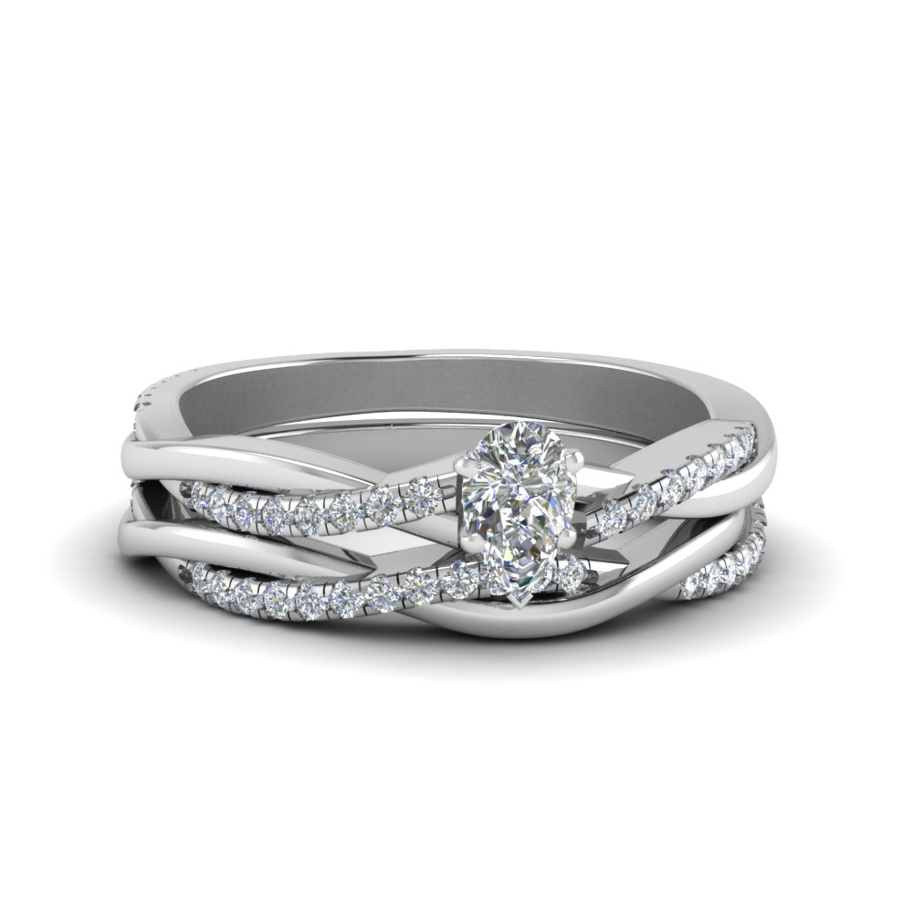 pear shaped Infinity twist diamond matching bridal set in FD8253PE NL WG