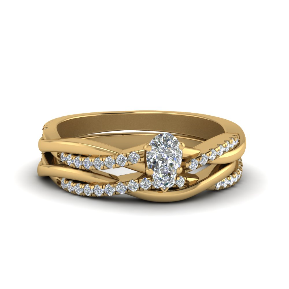 Diamond Twist Wedding Ring Yellow Gold
