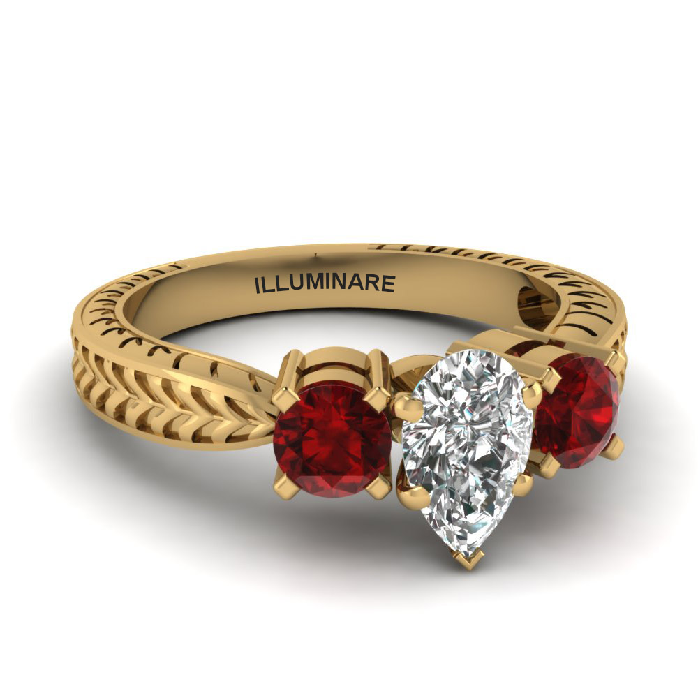 Engraved Gold Ruby Ring For Her