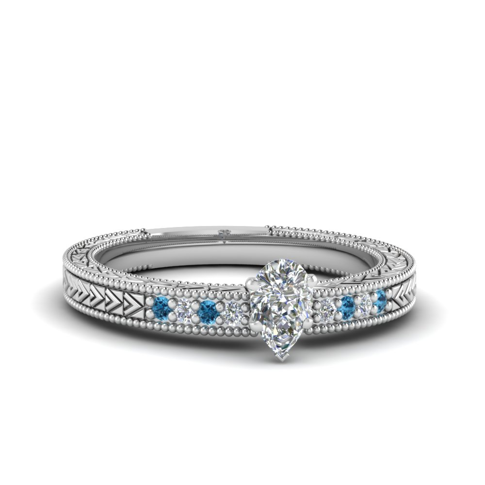 pear shaped antique design pave diamond engagement ring with ice blue topaz in FDENS3033PERGICBLTO NL WG