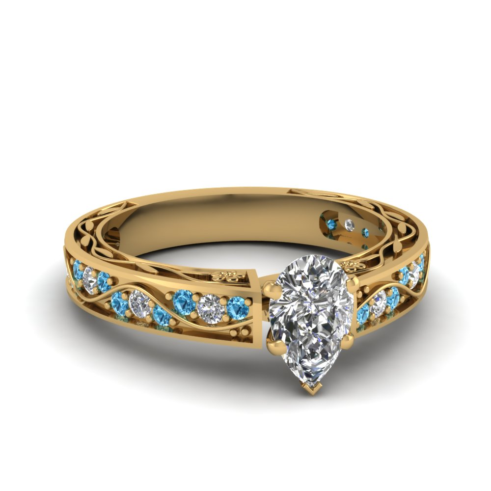 antique filigree pear shaped diamond engagement ring with blue topaz in FDENS3543PERGICBLTO NL YG