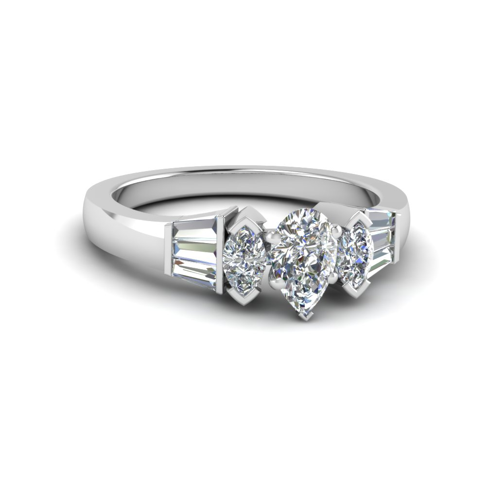 pear shaped baguette bar and marquise diamond engagement ring in 14K white gold FDENR1120PER NL WG