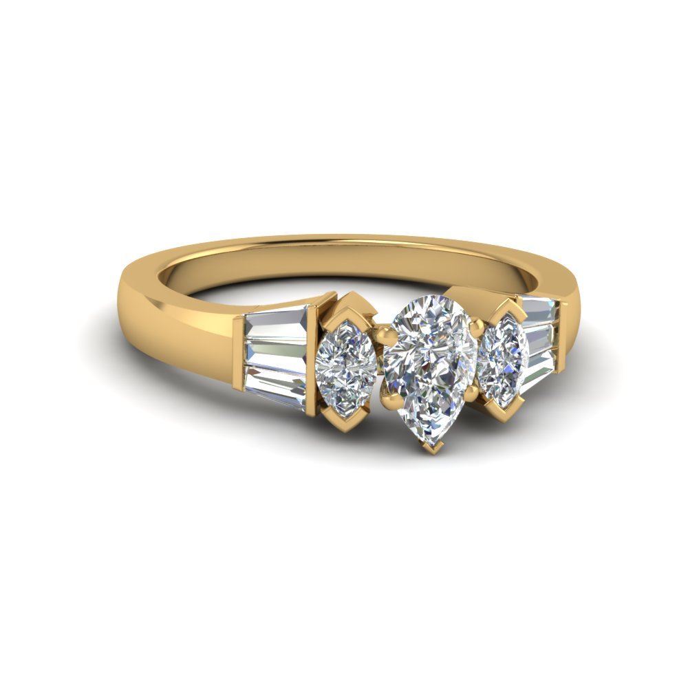Fantastic Pear Diamond Baguette Ring