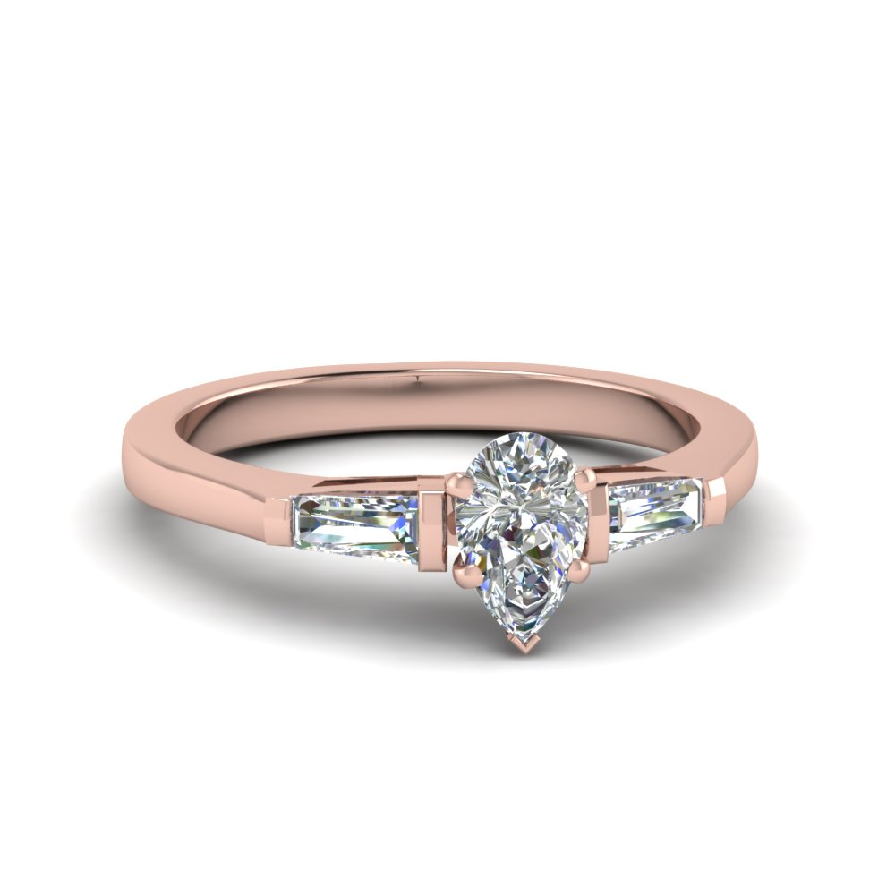 3 Stone Engagement Ring With Baguette