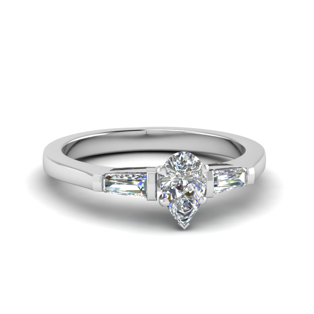 pear shaped 3 stone engagement ring with baguette in FDENS100PER NL WG