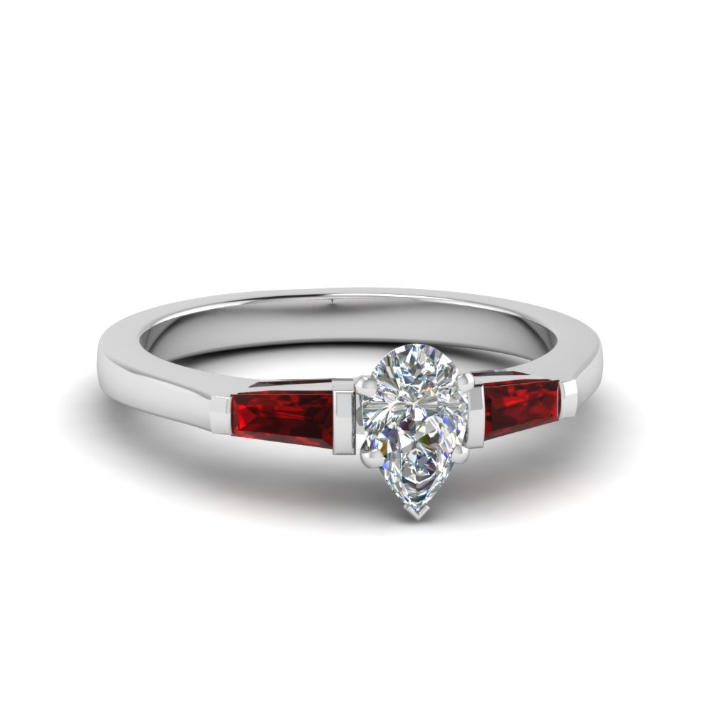 pear shaped 3 stone engagement ring with ruby baguette in FDENS100PERGRUDR NL WG