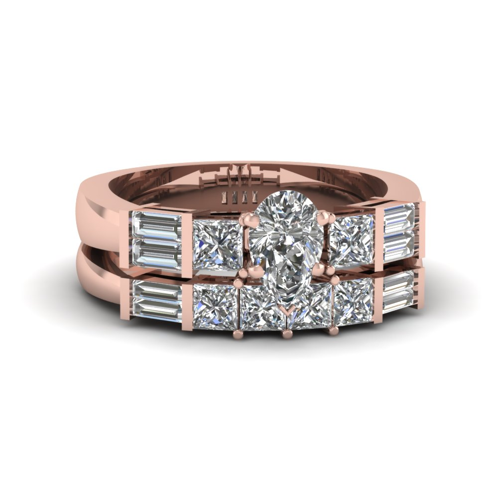 Pear Shaped Bar Set Baguette And Princess Diamond Wedding Ring Sets In 14K Rose Gold