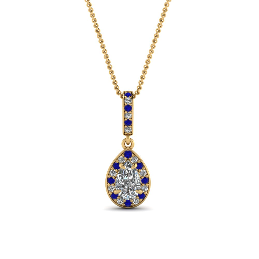 14k yellow gold blue sapphire fancy fascinating diamonds fancy pendants with blue sapphire in 14k yellow gold aloadofball Choice Image