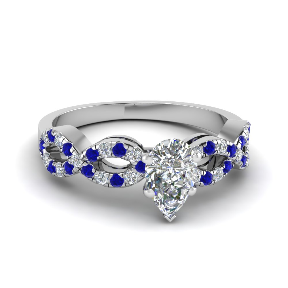 Braided Diamond Band Engagement Ring Pear Shaped Diamond Split Shank Engagement  Ring With Blue Sapphire In 18k White Gold