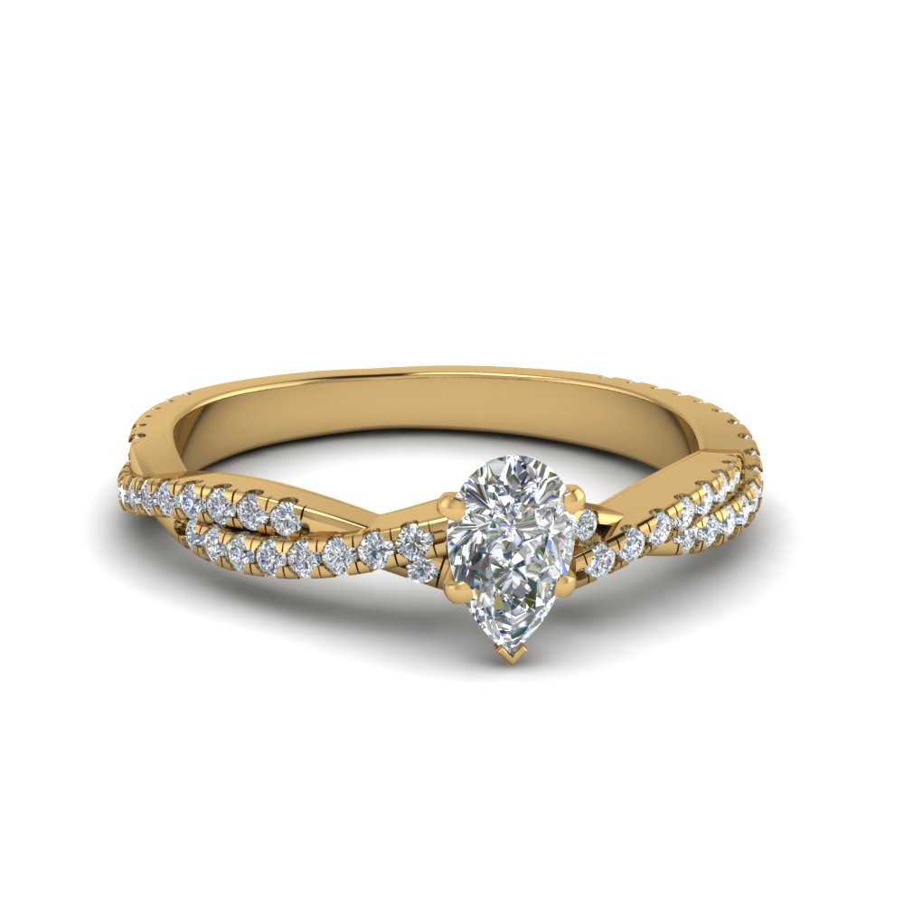 Twisted Vine Pear Diamond Ring