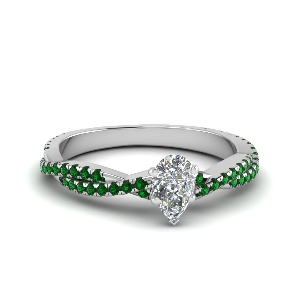 1 carat pear shaped diamond vine engagement ring with emerald in FD8233PERGEMGR NL WG GS