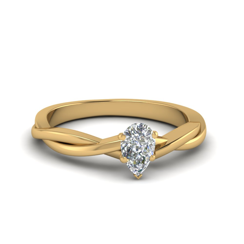 Pear Cut Solitaire Engagement Rings